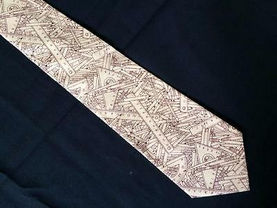 pencil rulers mens wide neck tie Tie One On brown teacher geometry carpenter