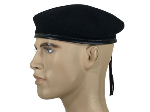 8-57 Made In France Laulhere French 100/% Wool Beret Army Commando Black 7 1//8
