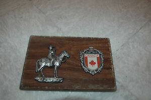 Antique Wood wall plaque horse riding Canada 60s