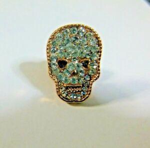 1 Gold Tone Diamante Rhinestone Sugar Skull Brooch Hijab Lapel Pin ... 39305541343f