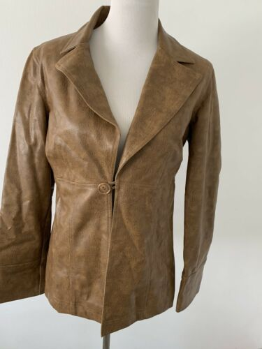 CHARLOTTE RUSSE Brown Tan Leather Trim Jacket Coat