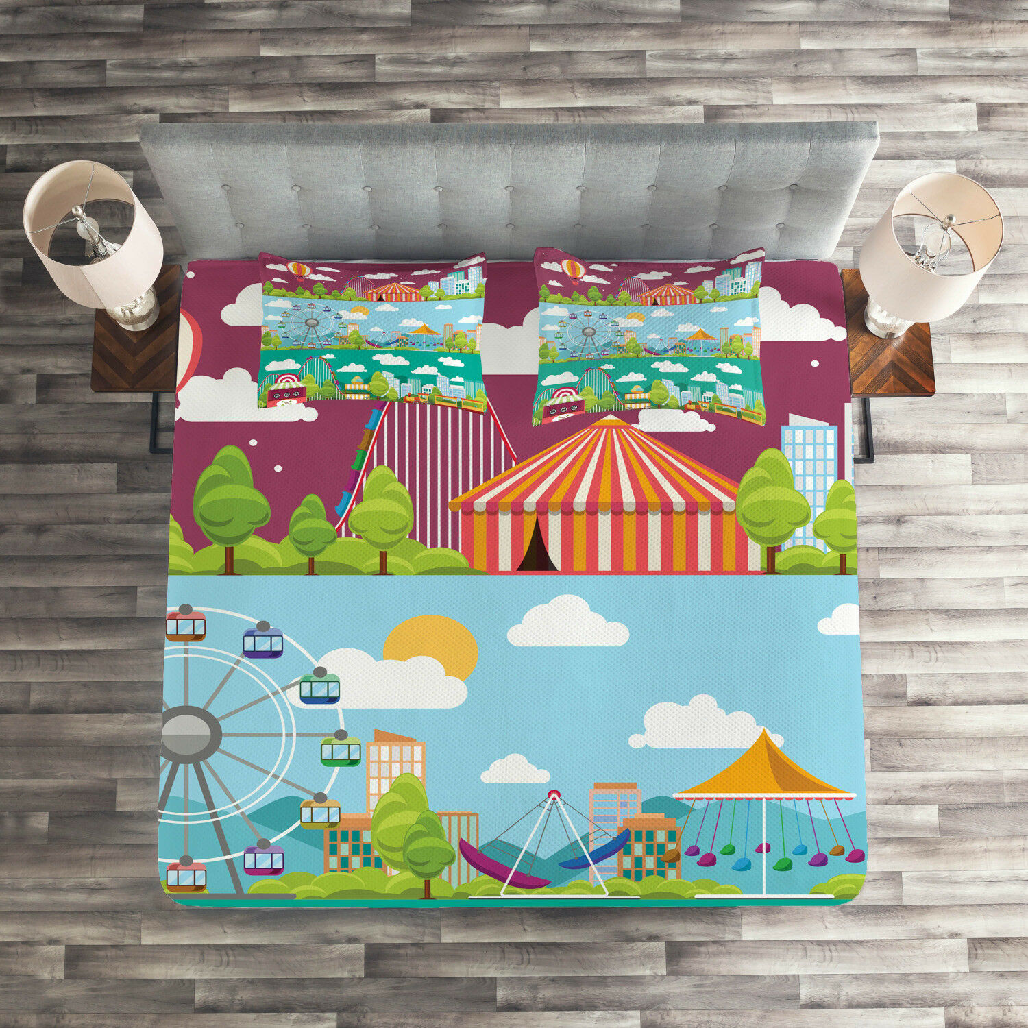 colorful Quilted Coverlet & Pillow Shams Set, Carousels Slide Swings Print