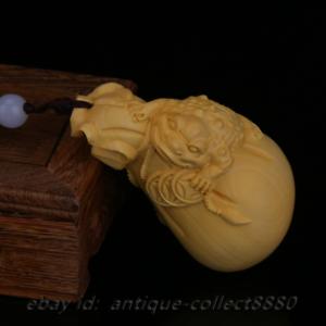 "2.8/"" Chinese Box-wood Hand-carved Maitreya Buddha Moneybag Small Statue Pendant"
