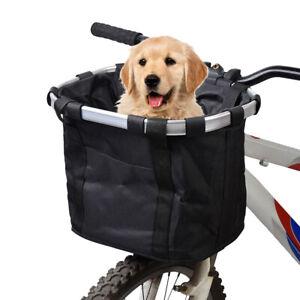 Bike Detachable Bicycle Basket Folding Pet Cat Dog Carrier Front Handlebar Bag