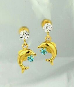 14k-Yellow-Gold-CZ-Dolphin-Stud-Earring