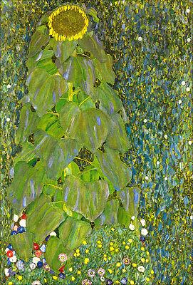 Bauerngarten mit Sonnenblume Landschaftsbild Wiese Bütten Gustav Klimt A3 022