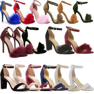 NEW-Women-Ankle-Strap-Stiletto-Denim-Open-Toe-Sexy-Chunky-Block-High-Heel-Sandal