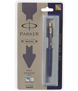 2-PEN-PARKER-CLASSIC-MATTE-NAVY-BLUE-GOLD-TRIM-BALL-PEN-FREE-WORLDWIDE-SHIPPING