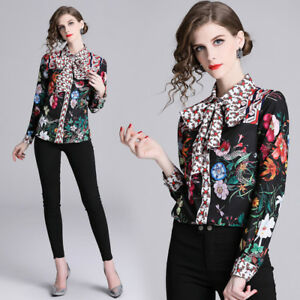 2019-Spring-Summer-Runway-Floral-Print-Bow-Tie-Neck-Womens-OL-Shirt-Top-Blouses