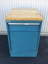 Lista 1 Drawer1 Shelf Metal Cabinet Blue 22 14x W X 285d X 35h Maple Top