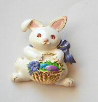 Easter Bunny W Easter Basket & Eggs Pin And/or Pendent Gold-tone Set