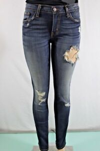 FLYING-MONKEY-NEW-WOMENS-LOVED-DESTROYED-SKINNY-JEANS-SZ-27-BLUE