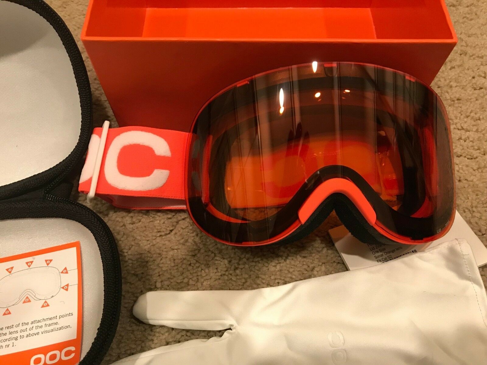 POC Lid Snow Goggles Zinc orange Sonar orange Lens.NWT.