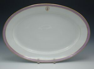 OLD PARIS PORCELAIN PILLIVUYT FOR GOD AND COUNTRY ARMORIAL LARGE PLATTER c.1860