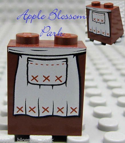 NEW Lego Female Girl MINIFIG SKIRT Brown White Apron Print Princess Dress Slope
