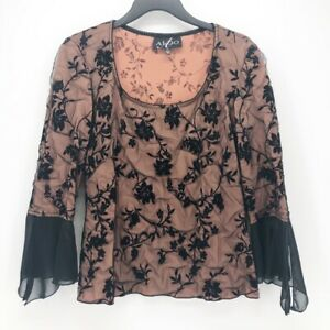 Alago-Womens-Blouse-Black-Beige-Floral-Bell-Sleeve-Scoop-Neck-Stretch-Lace-Top-S
