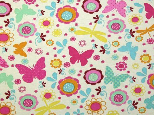 Flowers /& Butterflies Print Stretch Jersey Knit Dress Fabric JY-1530-001-M