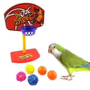 Pet-Bird-Chew-Toys-Parakeet-Parrot-Basketball-Hoop-Prop-Trick-Prop-Balls-TI
