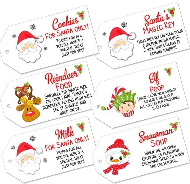 Christmas Labels.Christmas Labels Magic Reindeer Food Santas Key Milk Snowman Soup Elf Poop Tags