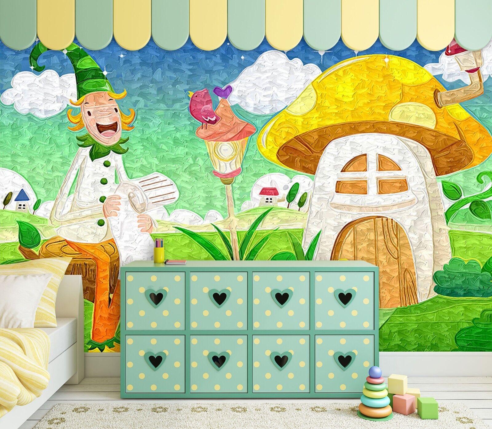3D Pilz Junge Wiese 8939 Tapete Wandgemälde Tapeten Bild Familie DE Lemon
