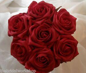 Wedding Flowers Bridesmaids Bride Small Diamante Rose Posy Posie Bouquet