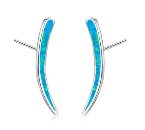 S08 exclusive Ohrringe Stab Bogen Spitze blauer Feueropal Stecker Silber 925