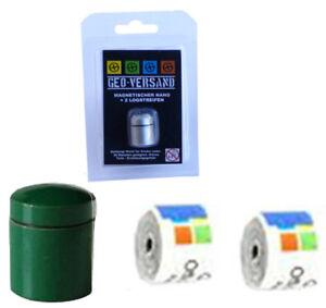 3x-gruener-magnetischer-Nano-Geocache-Versteck-6-Logstreifen-winzig-kleiner-Cache