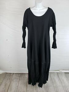 NWT Ray Harris London Black Scoop Neck Crinkle Flare Fit&Flare Dress One Size/XL