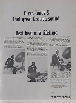 1963 Elvin Jones plays Gretsch drums beat of a lifetime photo print Ad