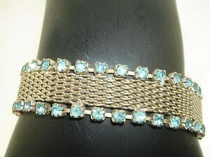 LOVELY-VINTAGE-1950-039-S-ERA-SILVER-MESH-W-FOILED-BLUE-RHINESTONES-BRACELET