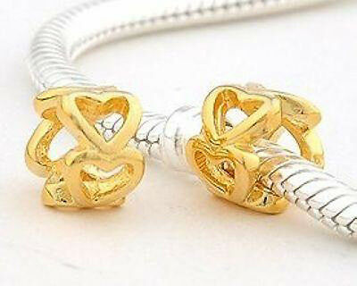 1 x Sterling Silver Gold Plated Charm Bead Spacer Heart Jewellery Brand New