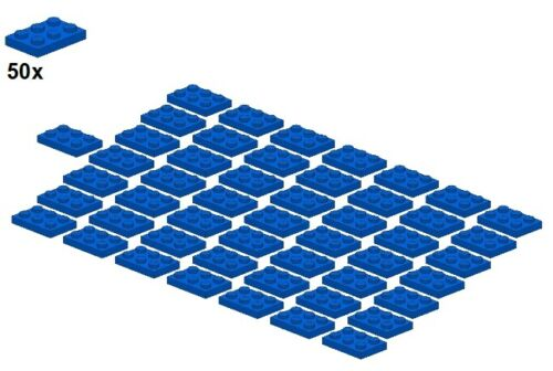 Blue 50Stk Plates 3021-02 - Platte Blau LEGO® 2x3