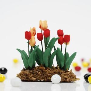 Puppenhaus-Miniatur-1-12-Garten-Eine-Reihe-Von-Blume-Tulpe-Laenge-E0J0