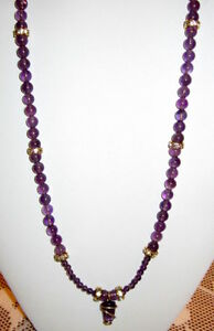 BEADED NATURAL AMETHYST, & 12K GOLD WIRE WRAPED AMETHYST PENDANT NECKLACE