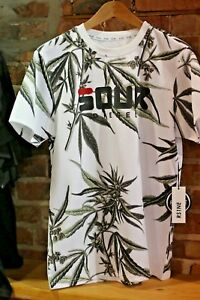 Sour-Diesel-Urban-Men-039-s-Shirt-With-420-Leafs-in-background-SOUR-FILA-LETTERS