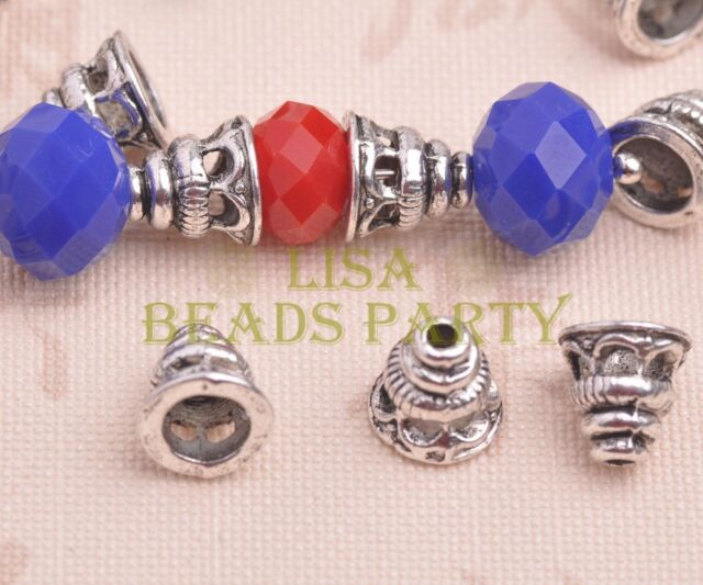 50pcs 8mm Tibetan Silver Bead Caps Charms Spacer Beads Jewelry Findings