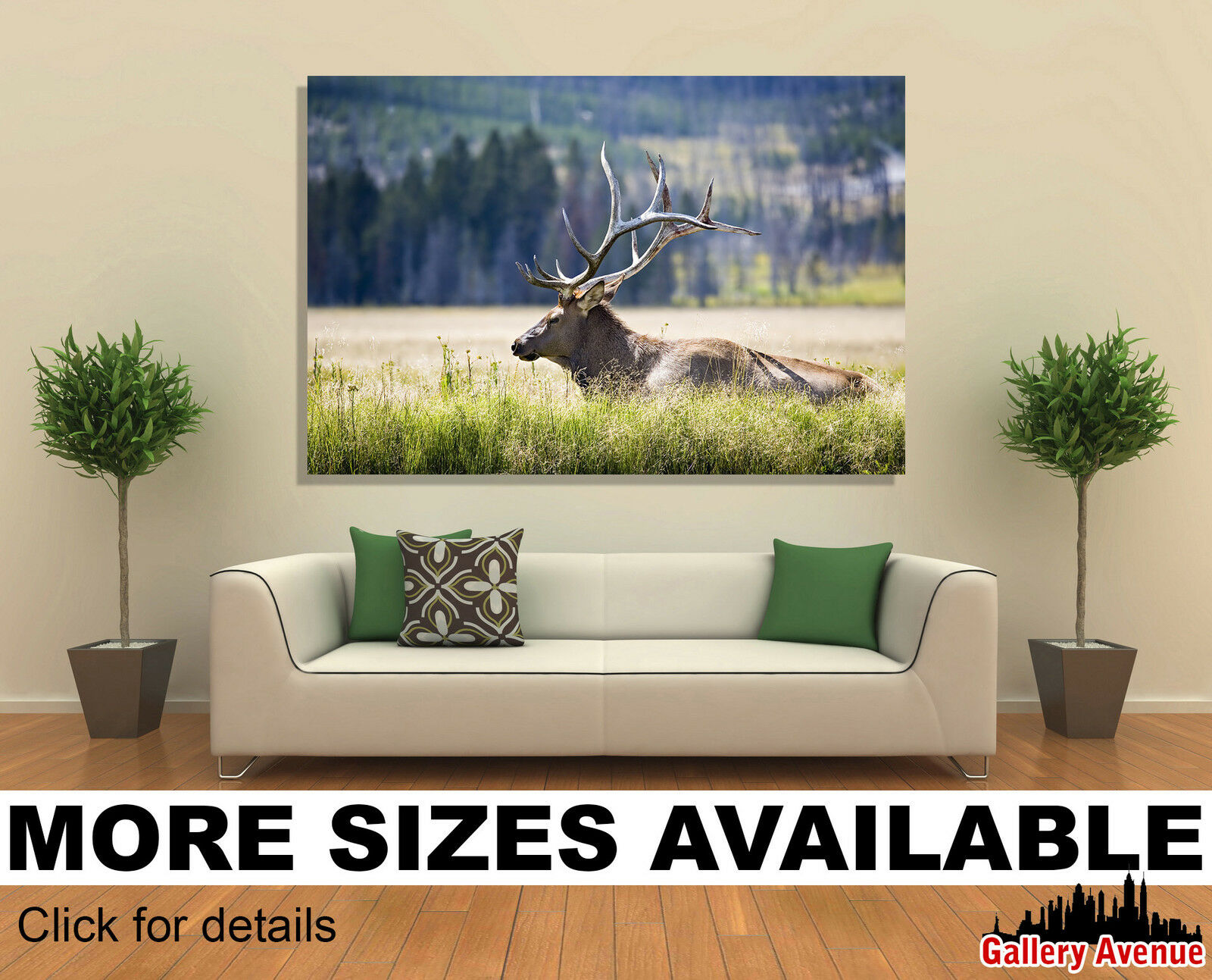 Wall Art Canvas Picture Print - Elk in Gelbstone 3.2
