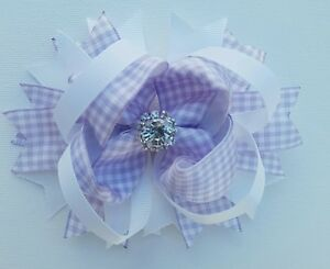 Gingham-LILAC-amp-WHITE-Hair-Bow-Clip-with-Rhinestone-Summer-School-Accessories