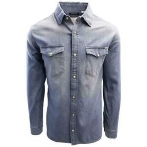 Jack-amp-Jones-Men-039-s-Medium-Blue-Denim-Slim-Sheridan-L-S-Shirt-Retail-59-50