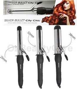 Silver Bullet City Chic Chrome Hair Curling Iron Tong 25mm