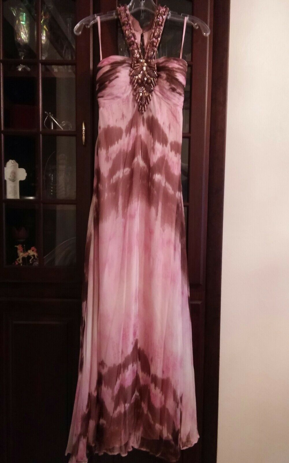 Jovani  Silk Pink & Brown Tie Dye Gown Size 2