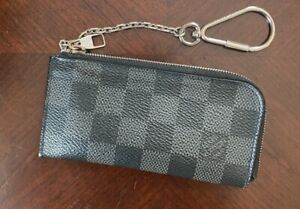 AUTH-LOUIS-VUITTON-Damier-Graphite-Checkerboard-Key-CLES-Card-Pouch-wallet-Case