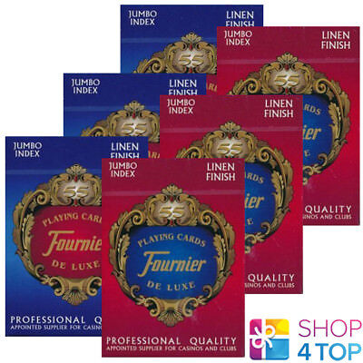 6 DECKS FOURNIER 18 VICTORIA PLASTIC COATED POKER PLAYING CARDS 3 RED 3 BLUE NEW