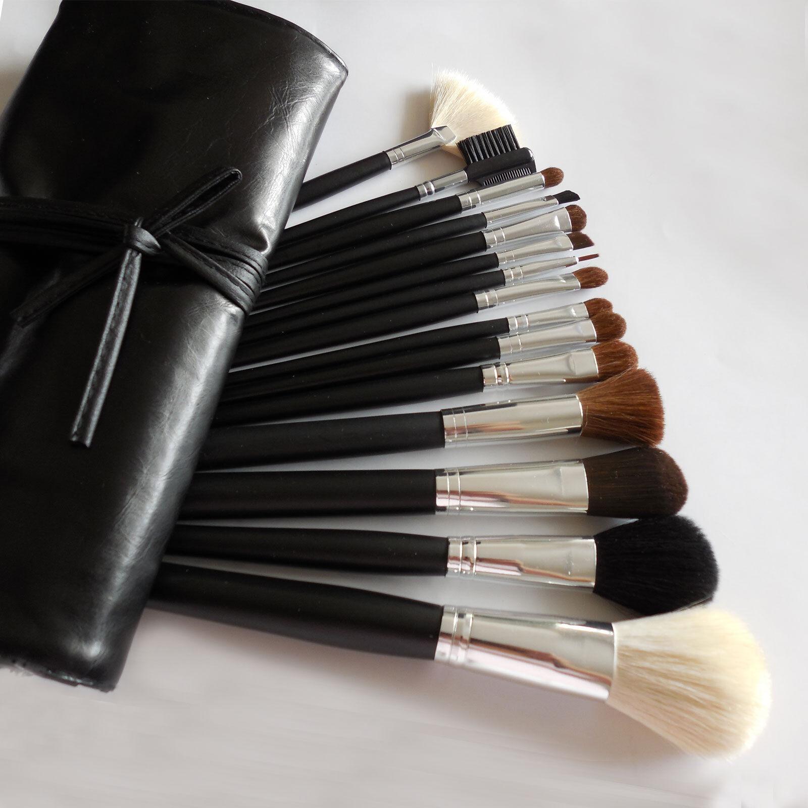 Lot Of 15 Pcs Cosmetic MakeUp Brush Set W Full Size Black Faux Leather Bag Case