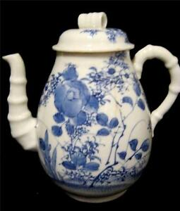 Chinese Blue and White Teapot Bamboo Spout and Handle | eBay