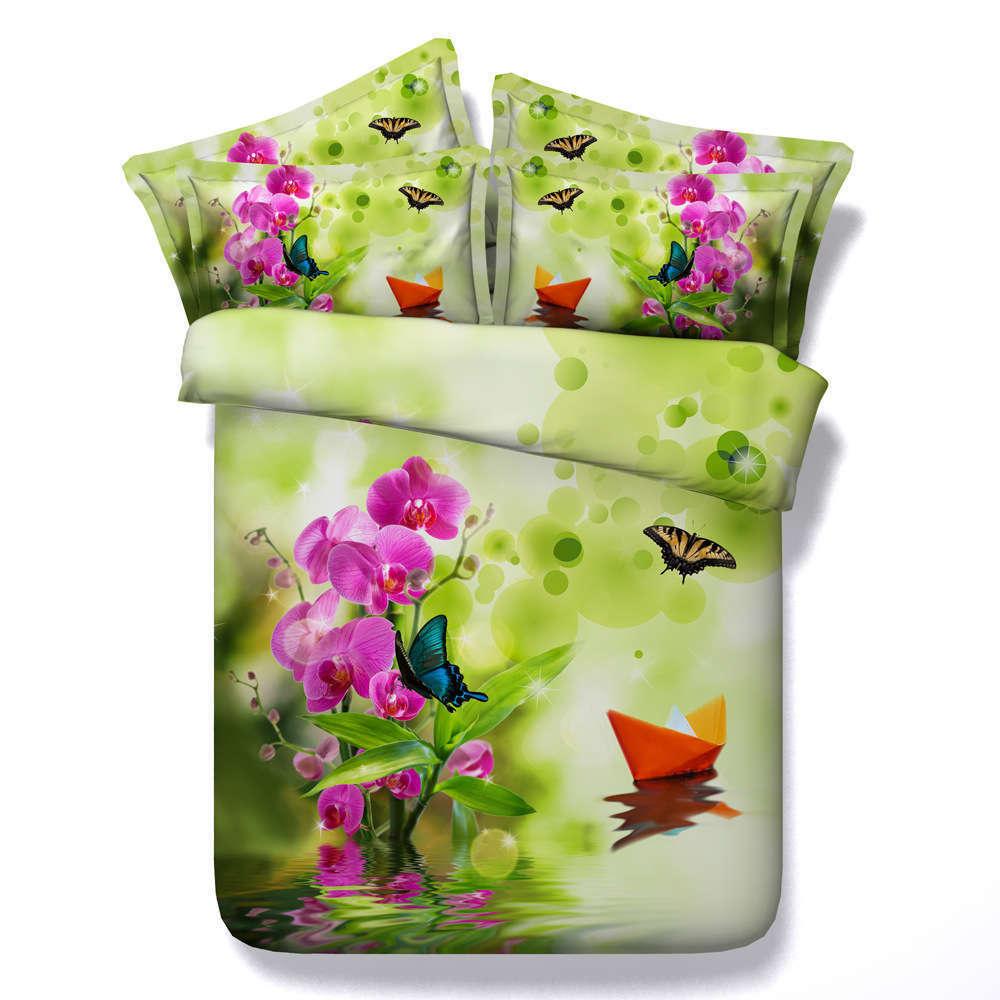 Boat Miss Flower 3D Printing Duvet Quilt Doona Covers Pillow Case Bedding Sets
