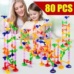 80Pcs Marble Race Run Maze Track Kids Toy Gift DIY Construction Building