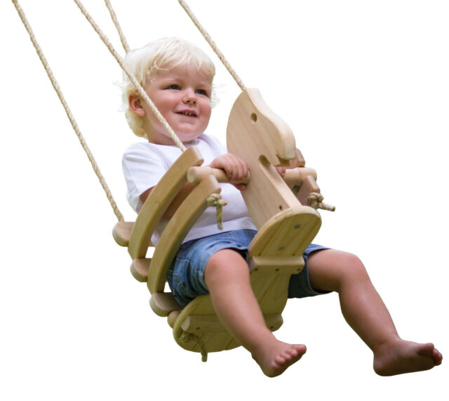 The Original Ecotribe Wooden Horse Toddler Swing Set - Natural Wood Finish