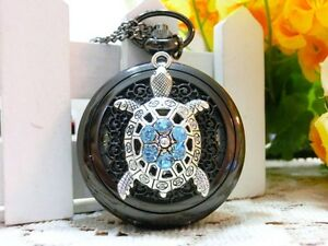 Antique-Rhinestone-Turble-hollow-steampunk-golden-dial-pocket-watch-necklace