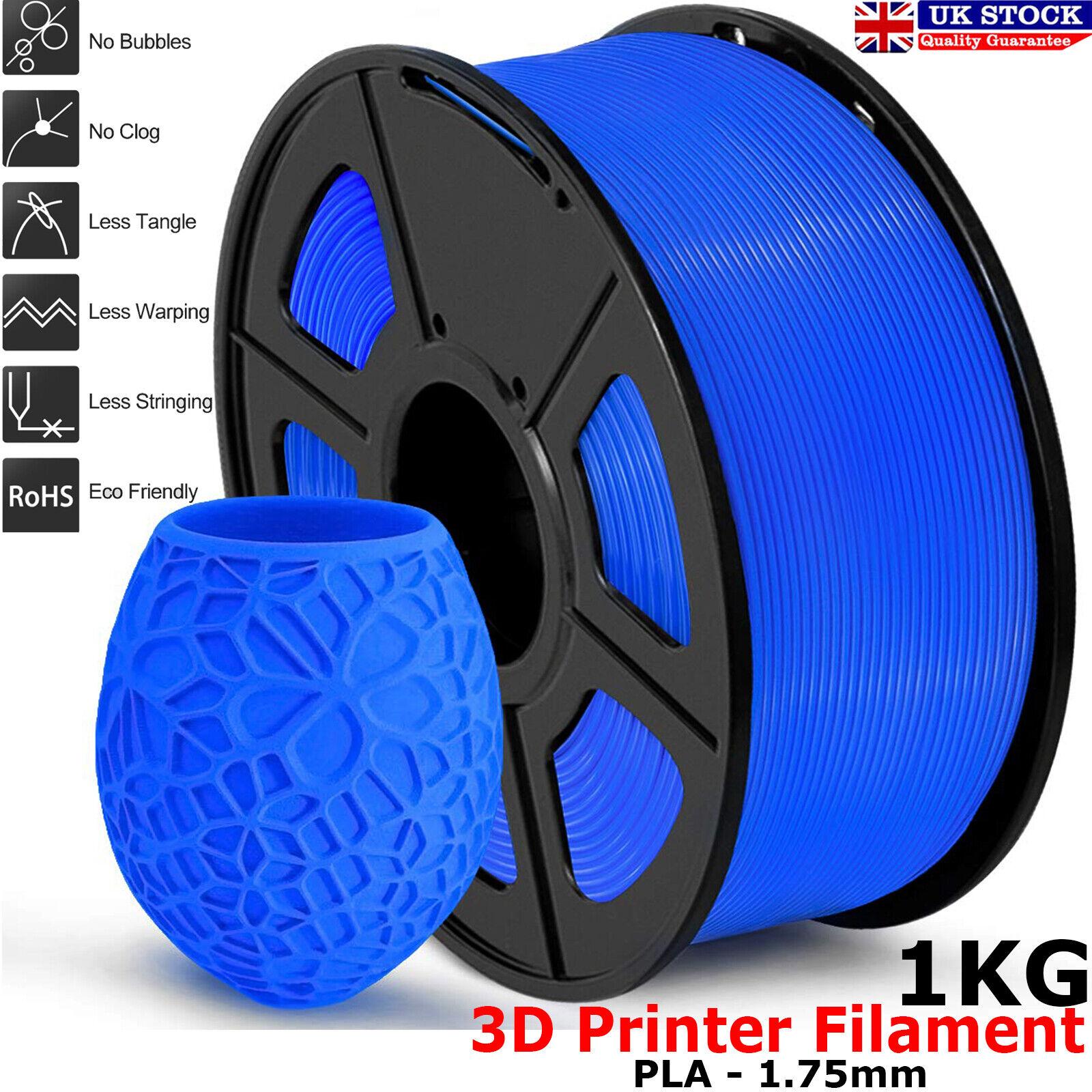 PLA / PETG / PLA+ Silk ABS 3D Printer Filament 1KG 1.75mm Accuracy+/-0.02mm UK